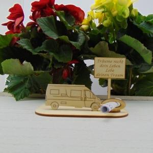 ♥ Geldgeschenk ♥ Van Wohnmobil aus Holz Gutscheingeschenk mit Ortsschild gravierter Spruch Träume nicht dein Leben Lebe deinen Traum - Handarbeit kaufen