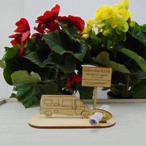 ♥ Geldgeschenk ♥ Van Wohnmobil aus Holz Gutscheingeschenk mit Ortsschild gravierter Spruch Silberhochzeit incl. Personalisierung - Handarbeit kaufen