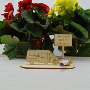 ♥ Geldgeschenk ♥ Van Wohnmobil aus Holz Gutscheingeschenk mit Ortsschild zum Geburtstag gravierter Spruch Wunschname zum Wunschzahl Alles Gute - Handarbeit kaufen