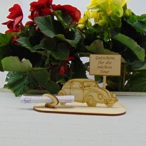 ♥ Geldgeschenk ♥ Oldtimer aus Holz Führerschein Gutscheingeschenk mit Ortsschild gravierter Spruch Gutschein für die nächste Tour - Handarbeit kaufen
