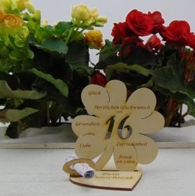Geldgeschenkset ♥ Kleeblatt 11,7 cm ♥ Herzlichen Glückwunsch zum 16. ♥ mit Personalisierung - Handarbeit kaufen