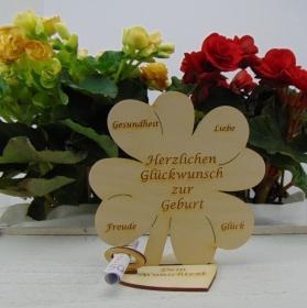 Geldgeschenkset ♥ Kleeblatt 16 cm ♥ Herzlichen Glückwunsch zur Geburt ♥ mit Personalisierung - Handarbeit kaufen