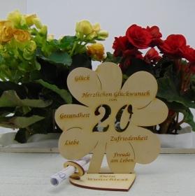 Geldgeschenkset ♥ Kleeblatt 16 cm ♥ Herzlichen Glückwunsch zum  20.♥ mit Personalisierung - Handarbeit kaufen
