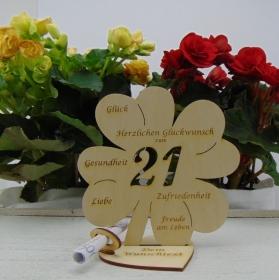Geldgeschenkset ♥ Kleeblatt 16 cm ♥ Herzlichen Glückwunsch zum 21. ♥ mit Personalisierung - Handarbeit kaufen