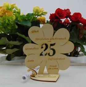 Geldgeschenkset ♥ Kleeblatt 16 cm ♥ Herzlichen Glückwunsch zum  25. Geburtstag ♥ mit Personalisierung - Handarbeit kaufen