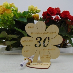 Geldgeschenkset ♥ Kleeblatt 16 cm ♥ Herzlichen Glückwunsch zum  30. Geburtstag ♥ mit Personalisierung - Handarbeit kaufen