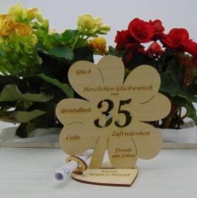 Geldgeschenkset ♥ Kleeblatt 16 cm ♥ Herzlichen Glückwunsch zum  35. Geburtstag ♥ mit Personalisierung - Handarbeit kaufen