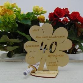 Geldgeschenkset ♥ Kleeblatt 16 cm ♥ Herzlichen Glückwunsch zum 40. Geburtstag ♥ mit Personalisierung - Handarbeit kaufen