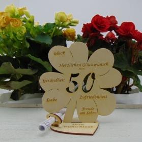 Geldgeschenkset ♥ Kleeblatt 16 cm ♥ Herzlichen Glückwunsch zum 50. Geburtstag ♥ mit Personalisierung - Handarbeit kaufen