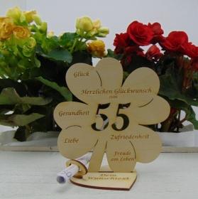 Geldgeschenkset ♥ Kleeblatt 16 cm ♥ Herzlichen Glückwunsch zum 55. Geburtstag ♥ mit Personalisierung - Handarbeit kaufen