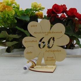 Geldgeschenkset ♥ Kleeblatt 16 cm ♥ Herzlichen Glückwunsch zum  60. Geburtstag ♥ mit Personalisierung - Handarbeit kaufen