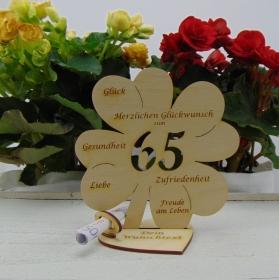 Geldgeschenkset ♥ Kleeblatt 16 cm ♥ Herzlichen Glückwunsch zum  65. ♥ mit Personalisierung - Handarbeit kaufen