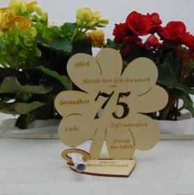Geldgeschenkset ♥ Kleeblatt 16 cm ♥ Herzlichen Glückwunsch zum 75. ♥ mit Personalisierung - Handarbeit kaufen