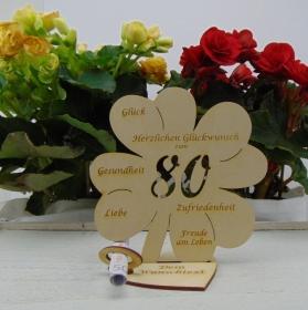 Geldgeschenkset ♥ Kleeblatt 16 cm ♥ Herzlichen Glückwunsch zum 80. ♥ mit Personalisierung - Handarbeit kaufen