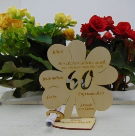 Geldgeschenkset ♥ Kleeblatt 16 cm ♥ Herzlichen Glückwunsch zur diamantenen Hochzeit 60 ♥ mit Personalisierung - Handarbeit kaufen