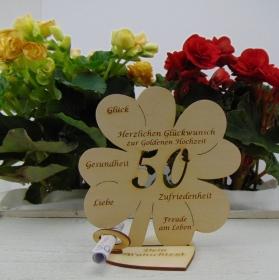 Geldgeschenkset ♥ Kleeblatt 16 cm ♥ Herzlichen Glückwunsch zur goldenen Hochzeit 50 ♥ mit Personalisierung - Handarbeit kaufen