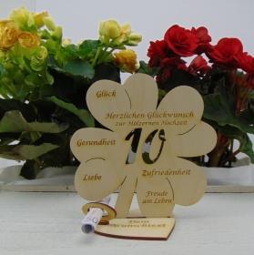 Geldgeschenkset ♥ Kleeblatt 16 cm ♥ Herzlichen Glückwunsch zur hölzernen Hochzeit 10 ♥ mit Personalisierung - Handarbeit kaufen