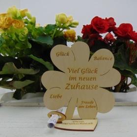 Geldgeschenkset ♥ Kleeblatt 16 cm ♥ Herzlichen Glückwunsch zum neuen Zuhause ♥ mit Personalisierung - Handarbeit kaufen