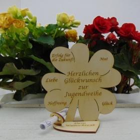 Geldgeschenkset ♥ Kleeblatt 16 cm ♥ Herzlichen Glückwunsch zur Jugendweihe ♥ mit Personalisierung - Handarbeit kaufen