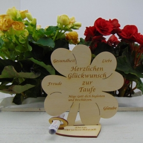 Geldgeschenkset ♥ Kleeblatt 16 cm ♥ Herzlichen Glückwunsch zur Taufe ♥ mit Personalisierung - Handarbeit kaufen