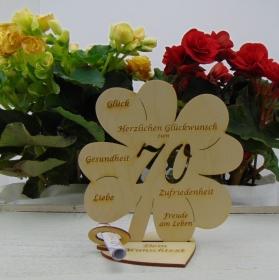 Geldgeschenkset ♥ Kleeblatt 16 cm ♥ Herzlichen Glückwunsch zum 70. ♥ mit Personalisierung - Handarbeit kaufen
