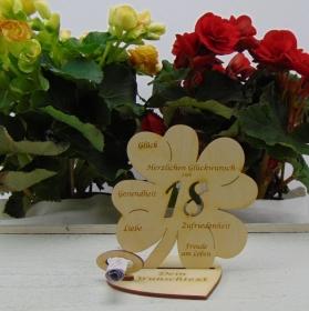 Geldgeschenkset ♥ Kleeblatt 11,7 cm ♥ Herzlichen Glückwunsch zum 18. Geburtstag ♥ mit Personalisierung - Handarbeit kaufen
