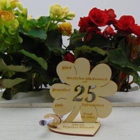 Geldgeschenkset ♥ Kleeblatt 11,7 cm ♥ Herzlichen Glückwunsch zum 25. ♥ mit Personalisierung - Handarbeit kaufen