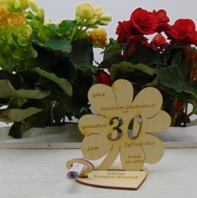 Geldgeschenkset ♥ Kleeblatt 11,7 cm ♥ Herzlichen Glückwunsch zum 30. ♥ mit Personalisierung - Handarbeit kaufen