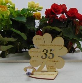 Geldgeschenkset ♥ Kleeblatt 11,7 cm ♥ Herzlichen Glückwunsch zum 35. ♥ mit Personalisierung - Handarbeit kaufen