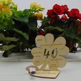Geldgeschenkset ♥ Kleeblatt 11,7 cm ♥ Herzlichen Glückwunsch zum 40. Geburtstag♥ mit Personalisierung - Handarbeit kaufen