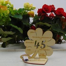 Geldgeschenkset ♥ Kleeblatt 11,7 cm ♥ Herzlichen Glückwunsch zum 45.Geburtstag ♥ mit Personalisierung - Handarbeit kaufen