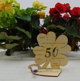 Geldgeschenkset ♥ Kleeblatt 11,7 cm ♥ Herzlichen Glückwunsch zum 50. ♥ mit Personalisierung - Handarbeit kaufen