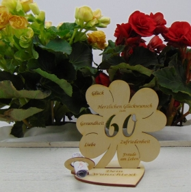 Geldgeschenkset ♥ Kleeblatt 11,7 cm ♥ Herzlichen Glückwunsch zum 60. ♥ mit Personalisierung - Handarbeit kaufen
