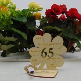 Geldgeschenkset ♥ Kleeblatt 11,7 cm ♥ Herzlichen Glückwunsch zum 65. ♥ mit Personalisierung - Handarbeit kaufen