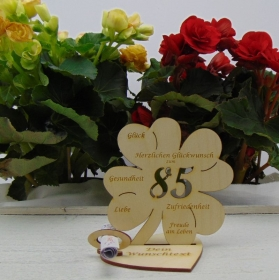 Geldgeschenkset ♥ Kleeblatt 11,7 cm ♥ Herzlichen Glückwunsch zum 85. ♥ mit Personalisierung - Handarbeit kaufen