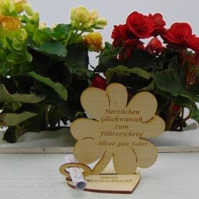 Geldgeschenkset ♥ Kleeblatt 11,7 cm ♥ Herzlichen Glückwunsch zum Führerschein. Allzeit gute Fahrt ♥ mit Personalisierung - Handarbeit kaufen