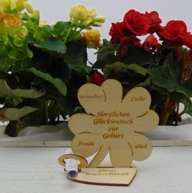 Geldgeschenkset ♥ Kleeblatt 11,7 cm ♥ Herzlichen Glückwunsch zur Geburt ♥ mit Personalisierung - Handarbeit kaufen
