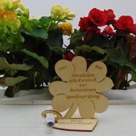 Geldgeschenkset ♥ Kleeblatt 11,7 cm ♥ Herzlichen Glückwunsch zur bestandenen Gesellenprüfung ♥ mit Personalisierung - Handarbeit kaufen