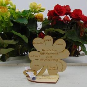 Geldgeschenkset ♥ Kleeblatt 11,7 cm ♥ Herzlichen Glückwunsch zum Hochzeitstag ♥ mit Personalisierung - Handarbeit kaufen