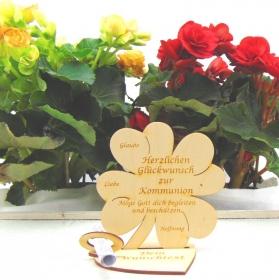 Geldgeschenk ♥ Kleeblatt aus Birkenholz ♥ Herzlichen Glückwunsch zur Kommunion ♥ mit Personalisierung - Handarbeit kaufen