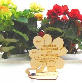 Geldgeschenkset ♥ Kleeblatt aus Birkenholz ♥ Herzlichen Glückwunsch zur Konfirmation ♥ mit Personalisierung - Handarbeit kaufen