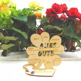 Zur Rente oder Zum Ruhestand mit Wunschtext Geldgeschenk ♥ Kleeblatt aus Holz ♥ Alles Gute ♥  - Handarbeit kaufen