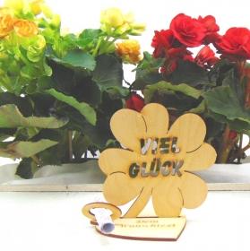 Mit Wunschnamen Gutschein oder Geldgeschenk ♥ Kleeblatt 11,7 cm ♥ Viel Glück ♥ mit Personalisierung - Handarbeit kaufen