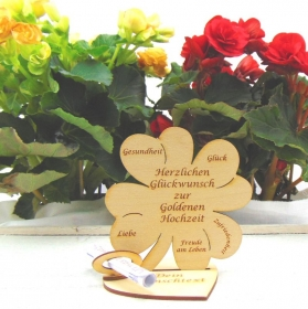 Geldgeschenkset ♥ Kleeblatt 11,7 cm ♥ Herzlichen Glückwunsch zur Goldenen Hochzeit ♥ mit Personalisierung - Handarbeit kaufen