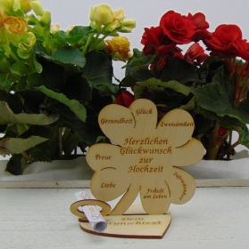 Gutschein oder Geldgeschenk ♥ Kleeblatt 11,7 cm ♥ Herzlichen Glückwunsch zur Hochzeit ♥ mit Personalisierung   - Handarbeit kaufen
