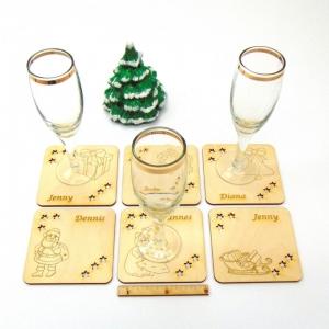 Personalisiertes ☆ Weihnachtsgeschenk ☆ Untersetzer für Getränke aus Holz Weihnachtliche Motive  - Handarbeit kaufen