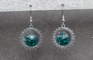 Ohrringe Elphie - handgefertigte Ohrringe in grün und silber, inspiriert vom Musical Wicked