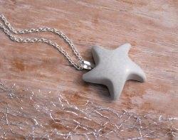 Halskette Beton Seestern - grau - sommerlich - handgefertigt
