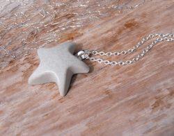 Halskette Beton Seestern - grau - sommerlich -