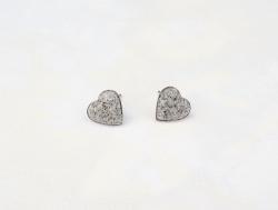 Mini Ohrstecker Herzen in Granit-Optik  - Edelstahl - handgefertigt -